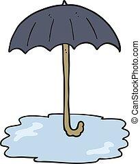 cartoon wet umbrella