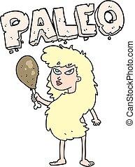 cartoon woman on paleo diet - freehand drawn cartoon woman...