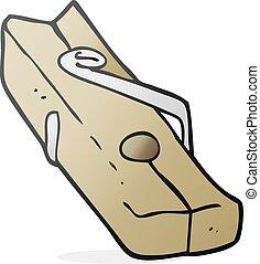 cartoon wood peg - freehand drawn cartoon wood peg