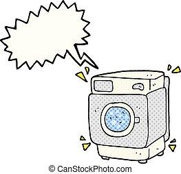 comic book speech bubble cartoon rumbling washing machine -...
