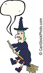 comic book speech bubble cartoon witch flying on broom