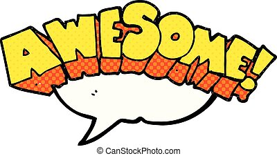 comic book speech bubble cartoon word awesome