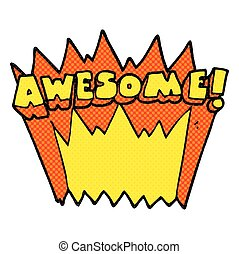 comic book style cartoon awesome word