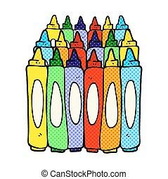 comic book style cartoon crayons