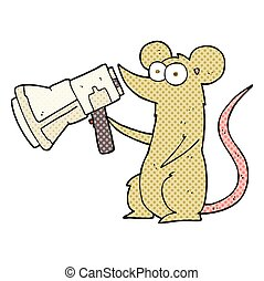 comic book style cartoon mouse with megaphone