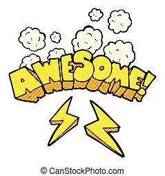 comic book style cartoon word awesome