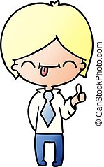 gradient cartoon of boy with thumb up