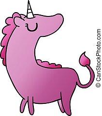 gradient cartoon of cute kawaii unicorn