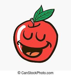 freehand drawn happy apple
