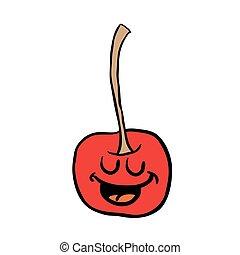freehand drawn happy cherry