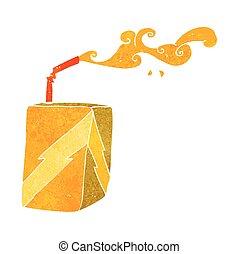 retro cartoon juice box - freehand drawn retro cartoon juice...