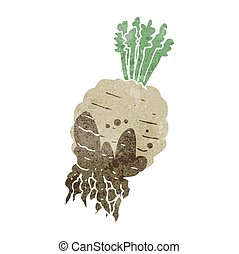 retro cartoon muddy turnip - freehand drawn retro cartoon...