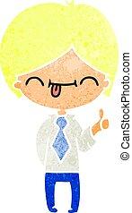 retro cartoon of boy with thumb up
