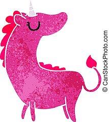 retro cartoon of cute kawaii unicorn
