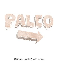 retro cartoon paleo diet pointing arrow - freehand drawn...