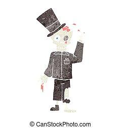 retro cartoon posh zombie - freehand drawn retro cartoon...