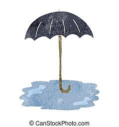 retro cartoon wet umbrella