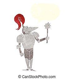 retro speech bubble cartoon medieval knight