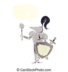 retro speech bubble cartoon medieval knight with shield