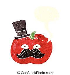 retro speech bubble cartoon posh tomato