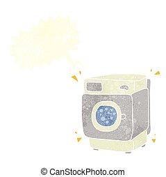 retro speech bubble cartoon rumbling washing machine -...