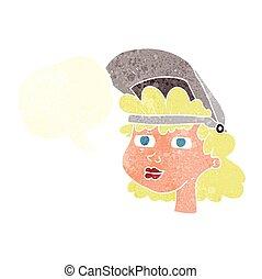 retro speech bubble cartoon woman with welding mask