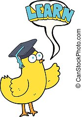 speech bubble cartoon bird with learn text
