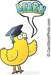 speech bubble cartoon bird with learn text