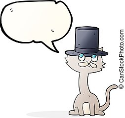 speech bubble cartoon cat in top hat