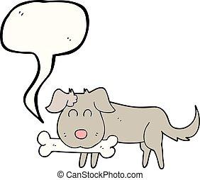 speech bubble cartoon dog with bone