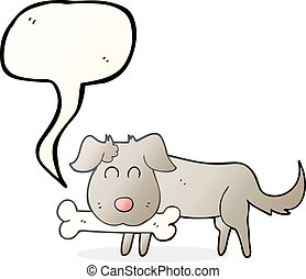 speech bubble cartoon dog with bone