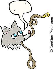speech bubble cartoon dog with leash