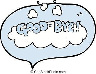 freehand drawn speech bubble cartoon good-bye symbol