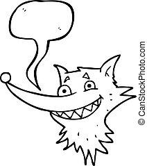 speech bubble cartoon grinning wolf face