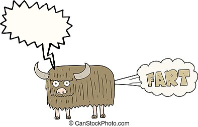 speech bubble cartoon hairy cow farting - freehand drawn...