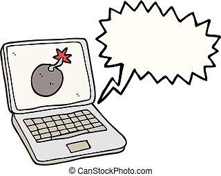 speech bubble cartoon laptop computer with error screen