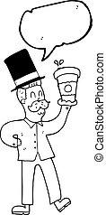 speech bubble cartoon man with coffee cup