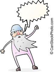 speech bubble cartoon old man in thermal underwear