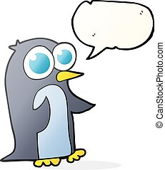 speech bubble cartoon penguin with big eyes - freehand drawn...