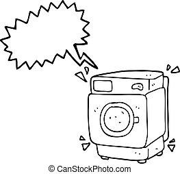 speech bubble cartoon rumbling washing machine - freehand...