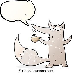 speech bubble cartoon wolf with coffee cup