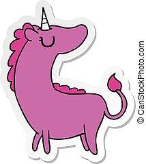 sticker cartoon of cute kawaii unicorn