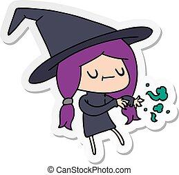 sticker cartoon of cute kawaii witch