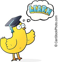 thought bubble cartoon bird with learn text