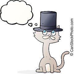 thought bubble cartoon cat in top hat