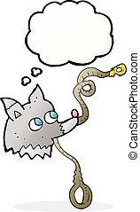 thought bubble cartoon dog with leash
