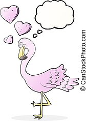 thought bubble cartoon flamingo in love