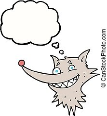 thought bubble cartoon grinning wolf face