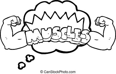 thought bubble cartoon muscles symbol