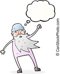 thought bubble cartoon old man in thermal underwear